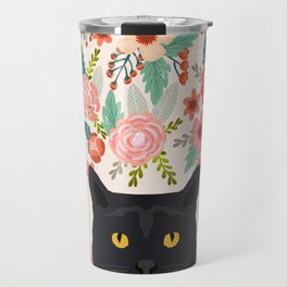 Black Cat cat breed floral pattern background pet gifts cats kitten mom gifts Travel Mug