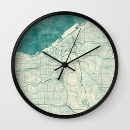 Cleveland Map Blue Vintage Wall Clock