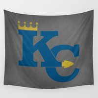 sports Wall Tapestries featuring Kansas City Sports Blue by Haley Jo Phoenix