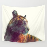 karen hallion Wall Tapestries featuring Tiger // Solace by Amy Hamilton