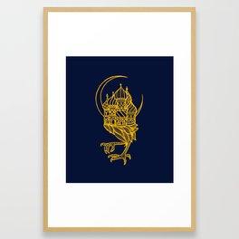 Baba Yaga Blue Gold Framed Art Print