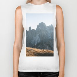 Dolomites mountain range in italy with hiker sunset - Landscape Photography Biker Tank