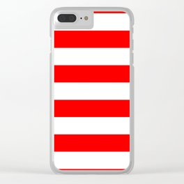 Australian Flag Red and White Wide Horizontal Cabana Tent Stripe Clear iPhone Case