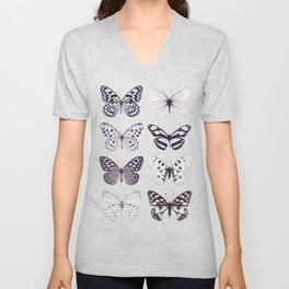 Black and white marble butterflies Unisex V-Neck