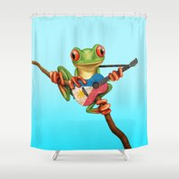 philippines Shower Curtains featuring Tree Frog Playing Acoustic Guitar with Flag of Philippines by Jeff Bartels