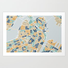 Navy and gold Boston map Art Print
