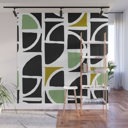Mid-Century Modern in Mint Green and Yellow Wall Mural