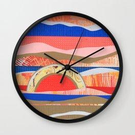 Orange and Blue Hills Wall Clock