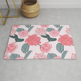 Roses and leaves Rug