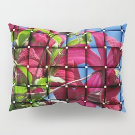 art of purple clematis blossom on blue sky Pillow Sham