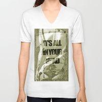 ass V-neck T-shirts featuring little ass by Maria Enache