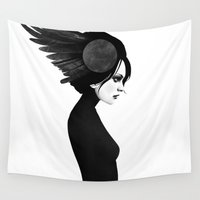 fierce Wall Tapestries featuring Amy by Ruben Ireland