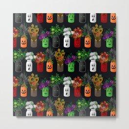 Halloween Mason Jar Bouquets Metal Print