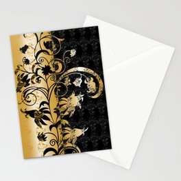 Abstract floral ornament in black and gold colors Stationery Cards