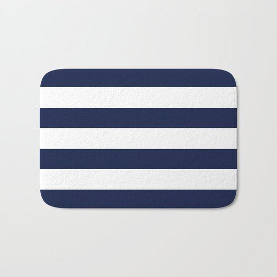 Simply Stripes Nautical Navy on White Bath Mat