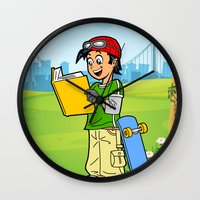 super heroes Wall Clocks featuring Super Heroes Act Wisely by youngmindz