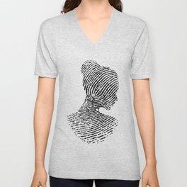 Fingerprint Silhouette Portrait No.1 Unisex V-Neck
