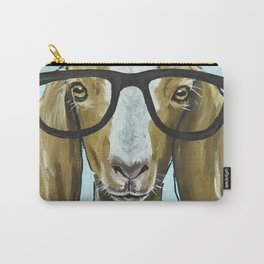 Goat with Glasses, Farm Animal Art Carry-All Pouch