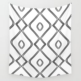 Modern Boho Ogee in Black and White Wall Tapestry