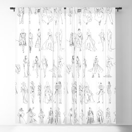 Loose Fashion Sketch Runway Girls Blackout Curtain
