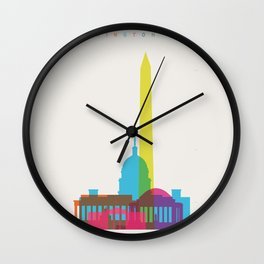 Shapes of Washington D.C. Accurate to scale Wall Clock