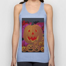 HALLOWEEN JACK O'LANTERNS & BATS ART Unisex Tank Top