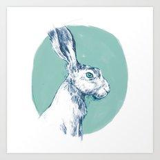 Blue Hare Art Print