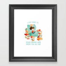 Read Books and Drink Tea Framed Art Print