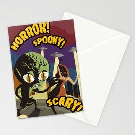 alien space invader horror film vintage poster Stationery Cards