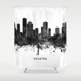 Houston Black White Named Skyline Shower Curtain