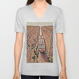 Greece Corinth Canal Artistic Illustration Rocky Terrain Style Unisex V-Neck
