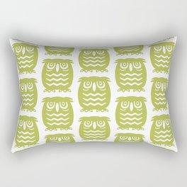 Mid Century Owl Pattern Chartreuse Rectangular Pillow
