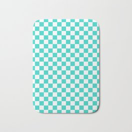 White and Turquoise Checkerboard Bath Mat