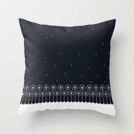 Dandelion border white on black Throw Pillow