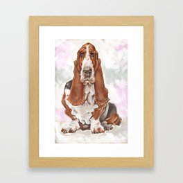 Caricature portrait of a basset hound Framed Art Print