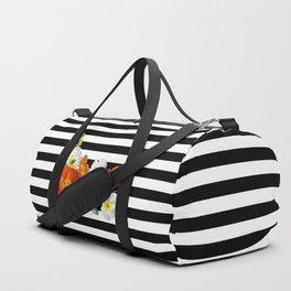 Poppy Flowers and Black & White Stripes Pattern Duffle Bag