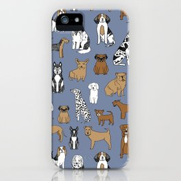 Dogs pattern minimal drawing dog breeds cute pattern gifts by andrea lauren iPhone Case