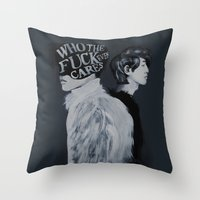 kpop Throw Pillows featuring Who The F**k by Julia C. Elliott