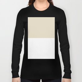 White and Pearl Brown Horizontal Halves Long Sleeve T-shirt