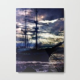 Lahaina Whaling Ship Moonrise Metal Print