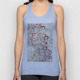 Cool Vintage Map of Mississippi River - Sheet 6 Unisex Tank Top