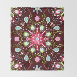 Pointillism mandala | Brown, red and green Throw Blanket