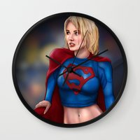 supergirl Wall Clocks featuring Kara (Supergirl) by Chase Falkenhagen