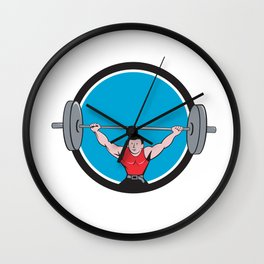 Weightlifter Deadlift Lifting Weights Circle Cartoon Wall Clock