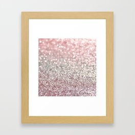Girly Pink Snowfall Framed Art Print