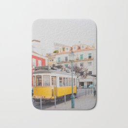 Yellow Tram in Lisbon Bath Mat