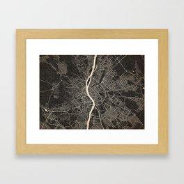 budapest map ink lines Framed Art Print