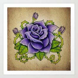 Purple Rose - Tattoo Art Art Print