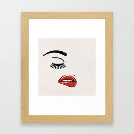 GIRL FACE - EYE - LIPS Framed Art Print