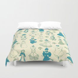 Vintage Ladies BLUE BEIGE / 18th and 19th century illustrations of women Duvet Cover
